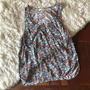 H&M | Floral Curved Hem Tank Top